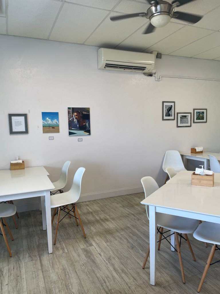 Indoor seating with artwork