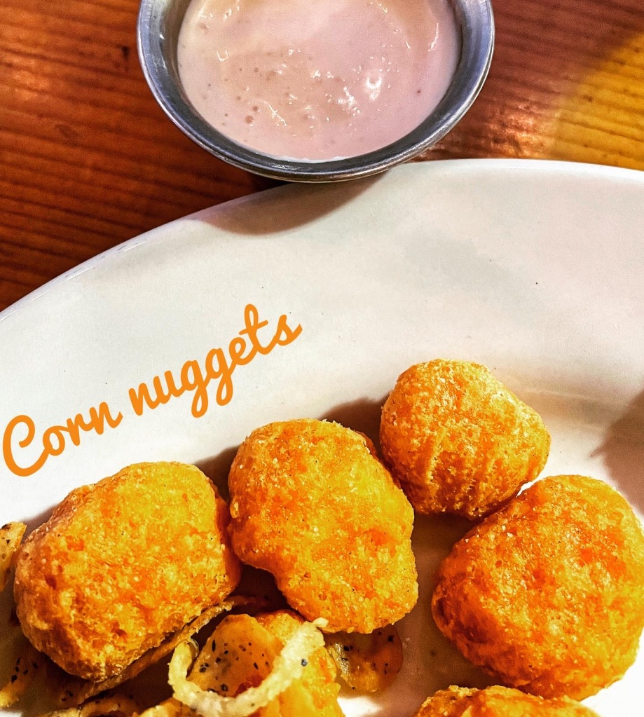 Corn Nuggets with  Creamy Garlic Sauce