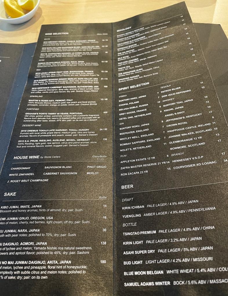 Extensive drink menu