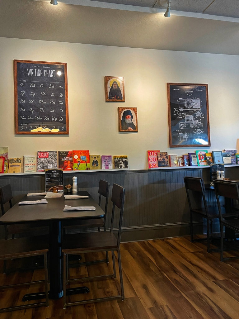 Books along dining area