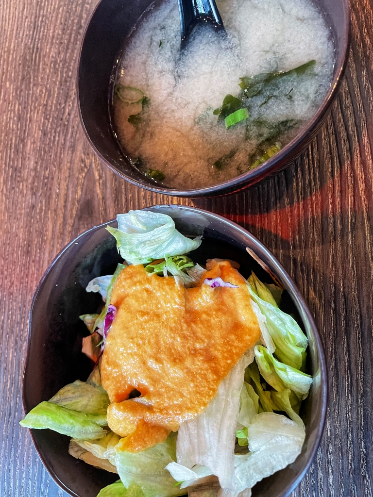 Miso soup (above); salad (below)