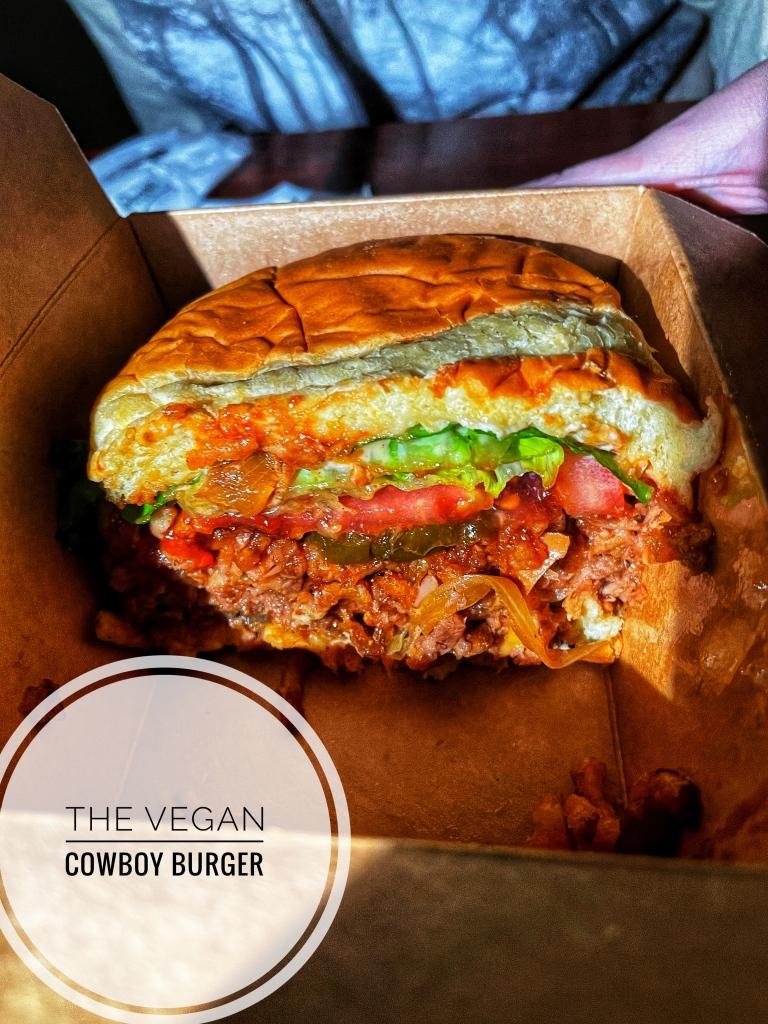 Vegan Cowboy burger cross section