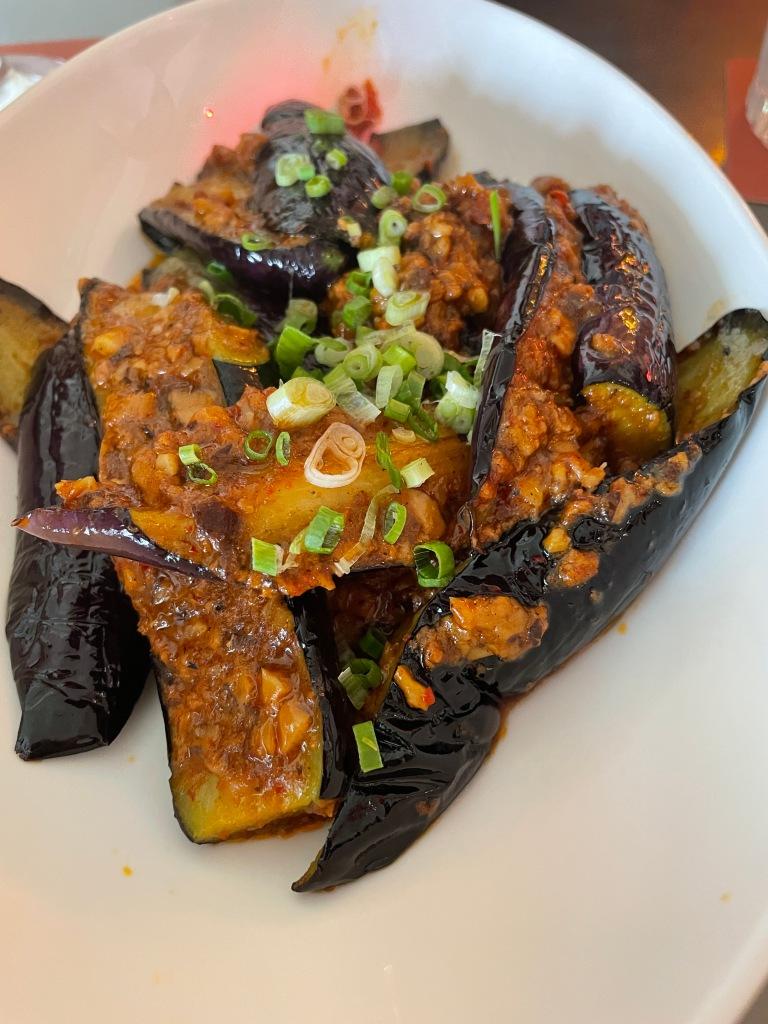 Fried Eggplant with Mara Sauce