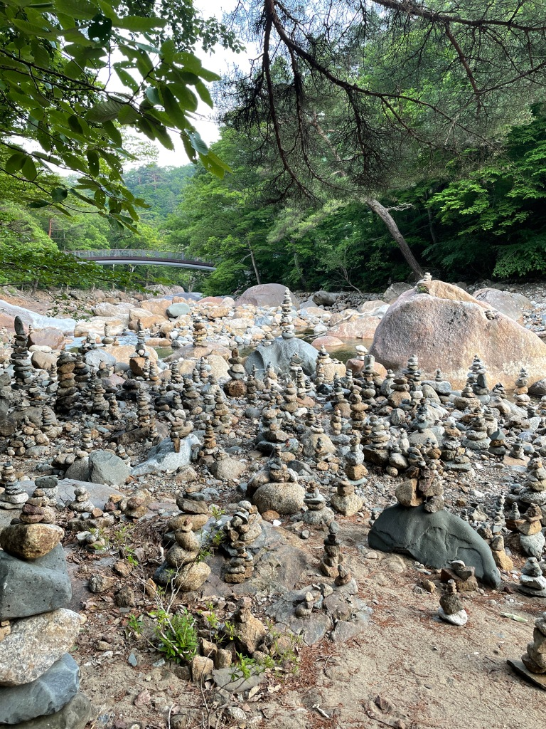 At any mountain in South Korea, you will find stone mountains that people made. Each stone symbolizes a wish!