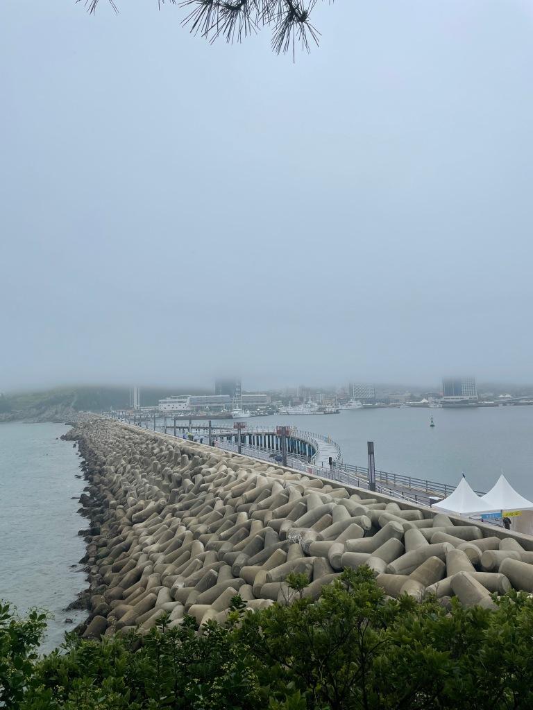 Breakwater in the fog