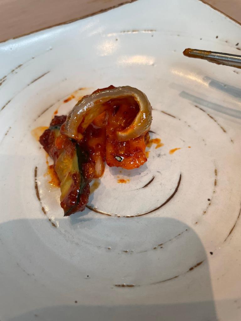 I enjoyed eating the combo of fish skin and veggies
