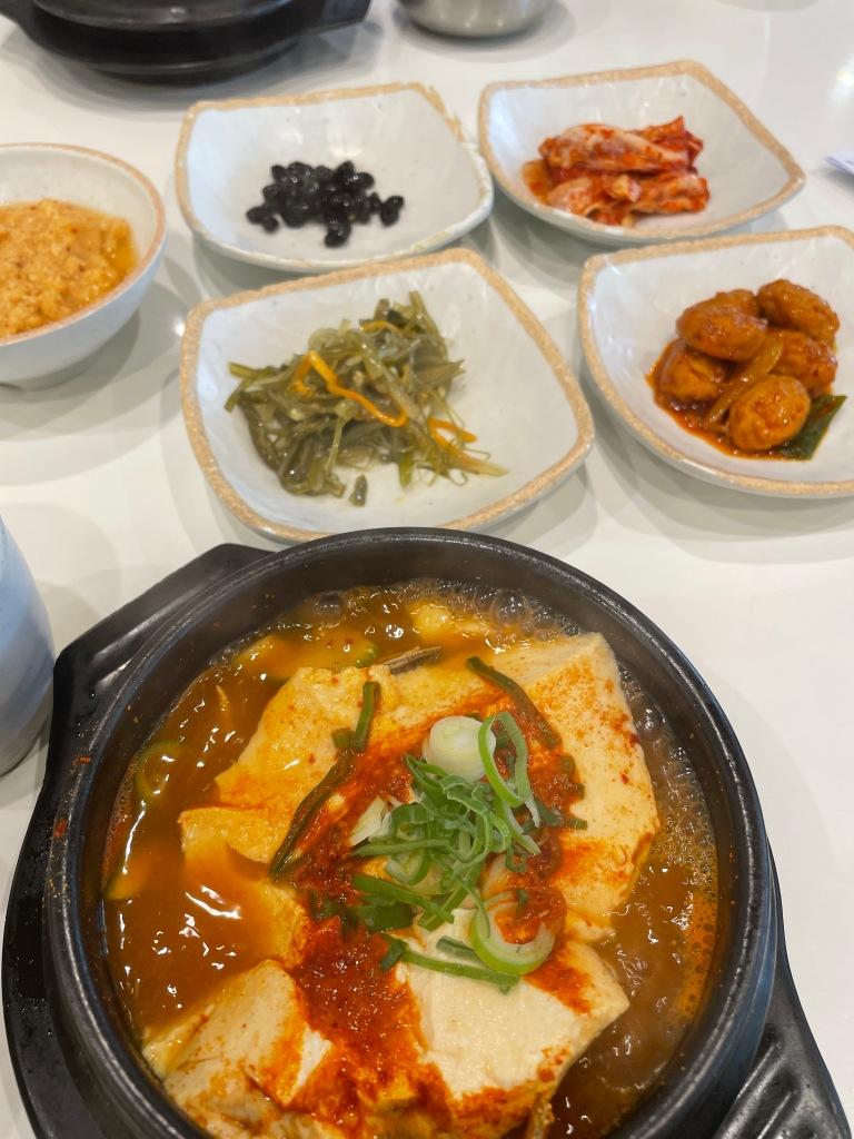 Seafood Soondubu with side dishes