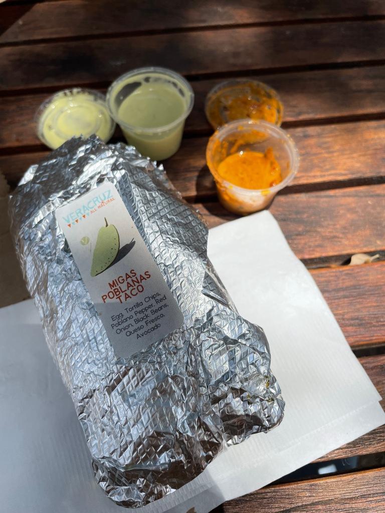 Migas Poblanas Taco and sauces