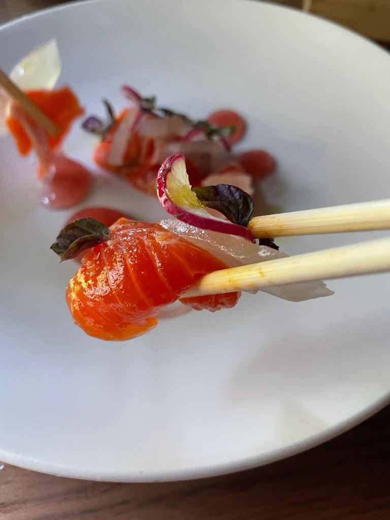 Ocean trout sashimi slice
