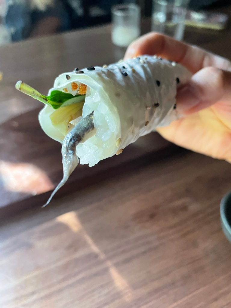 Handrolls filled with fish and veggies