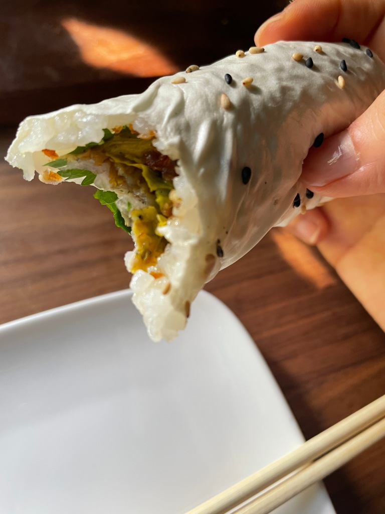 Handrolls with toppings inside