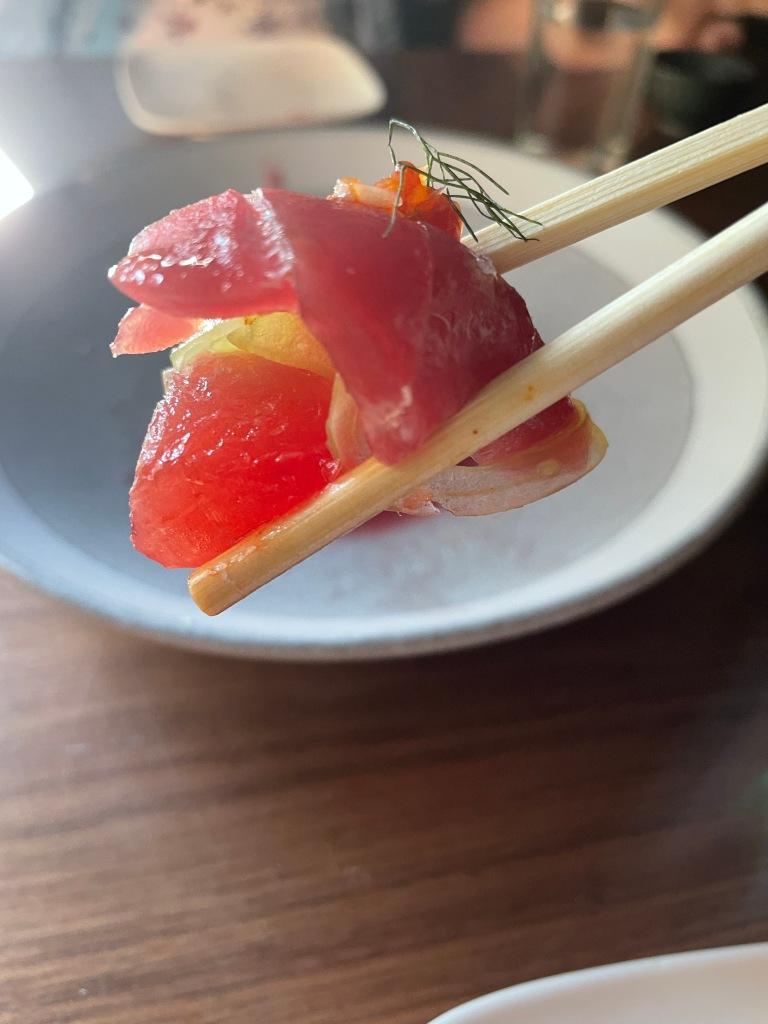 Slice of Blue fin sashimi