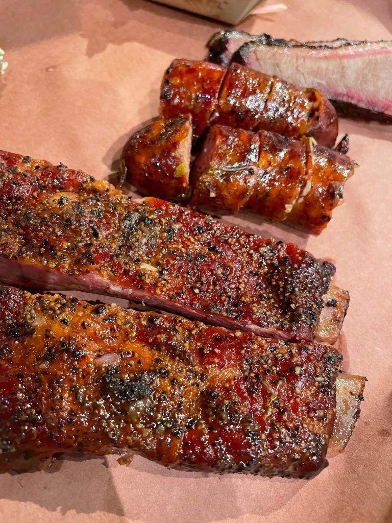 Brisket (top), sausage (middle), pork ribs (bottom)
