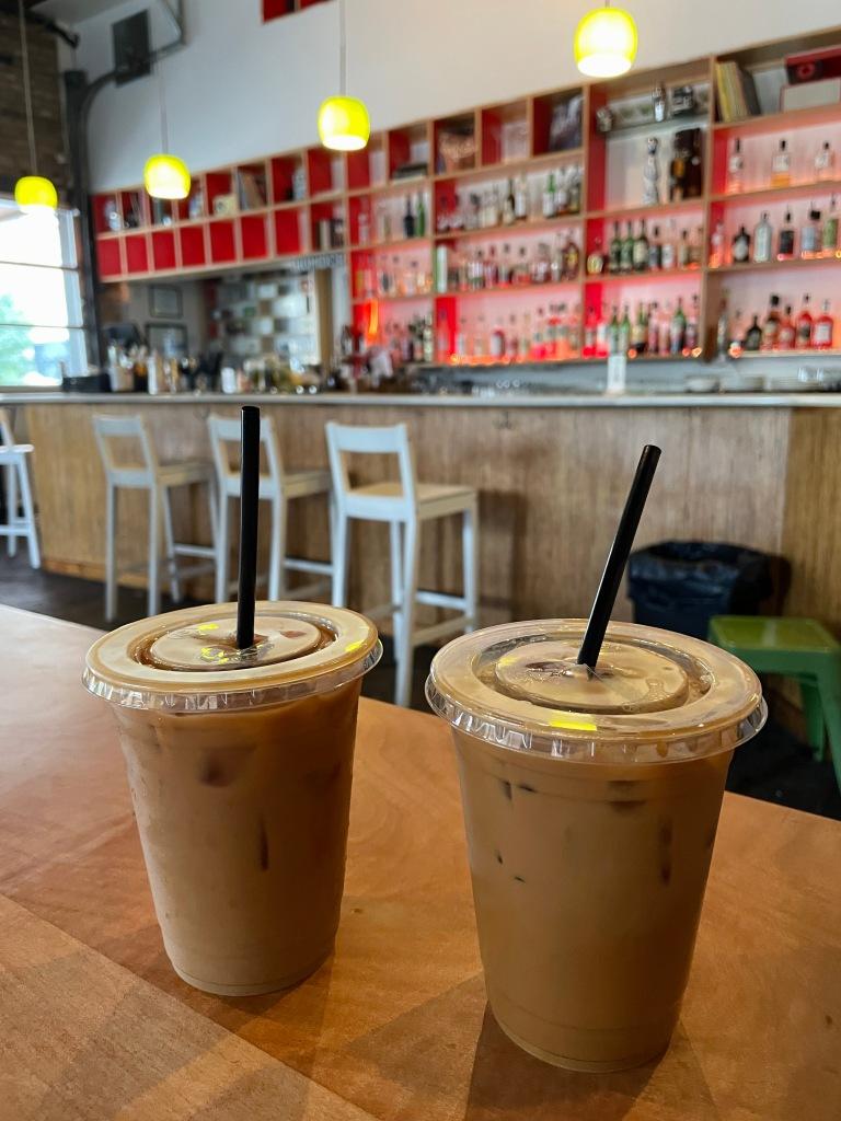 Regular Iced coffee (left), Vietnamese iced coffee (right)