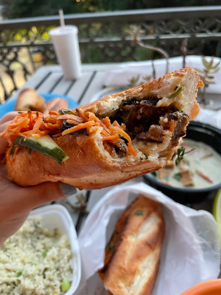 Inside of grilled pork sandwich