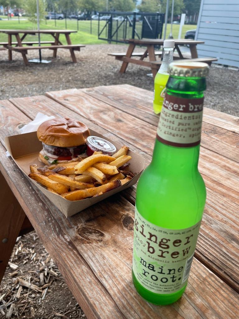 Vegan burger with drinks!